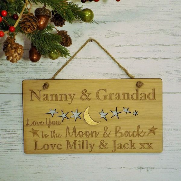 Love You To The Moon & Back Personalised Sign Nanny Grandad Grandparents Gift
